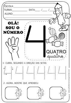 Atividade pronta - Numeral 4 Senses Activities, Autism Activities, Educational Activities, Activities For Kids, Numbers Preschool, Preschool Lessons, Preschool Worksheets, Teaching Spanish, Teaching Kids