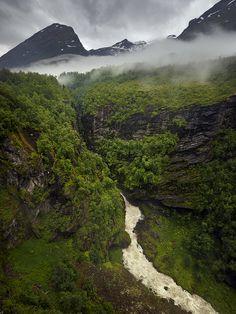 drearywaters:  Waterfall near Geirangerfjord, Norway (by weesam2010)