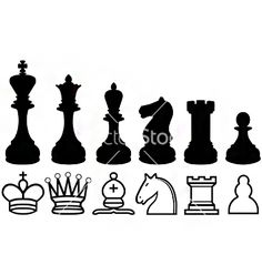 Chess piece silhouettes and symbols vector 789521 - by rheyes on VectorStock®