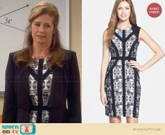 Vanessa's black and white printed dress with black trim on Last Man Standing.  Outfit Details: http://wornontv.net/30210/ #LastManStanding
