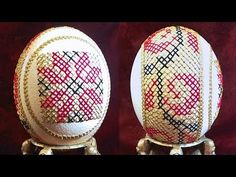 Learn How To Sew Cross Stitch Eggs (Sewing Cross Stitched Ostrich Egg Art) - YouTube