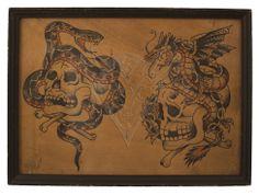 """cap"" coleman Tattoo | 15""x11"" Reproductio of Vintage Cap. Coleman Tattoo Flash Print Giclee ..."