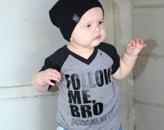 Follow me, bro. This raglan is perfect for your tot or baby who has their own hashtag on Instagram. Make sure when purchasing you leave the IG handle in the notes to checkout so we can personalize it for you. Need this in a different size Or want it on a Childs T-shirt or Onesie? Please send us a message, & we can make that happen. Want a different font color, or shirt option? Send us a message and we can set you up a custom listing!  Turn around time: 1-2 week max with most items ready t...