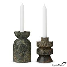 Green Marble Candle Holder Set of 2 Large Candle Holders, Candle Holder Set, Tom Dixon, Marble Candle, Pillar Candles, Plastic Company, Toms, Candle Diffuser, Visual Texture