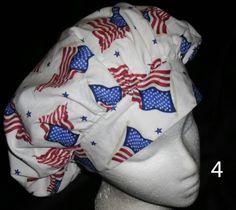 cf1d3752692 American Flags Waving Banded Bouffant Fabric Nurses Scrubs Scrub Caps  Pediatric Hats Ladies Hats