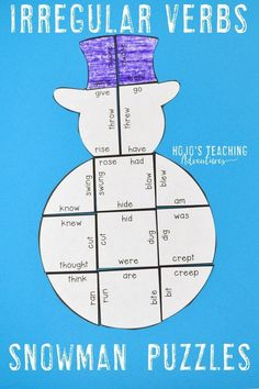 Your kids are going to love focusing on literacy skills during the winter months with this great irregular verbs review puzzle. Great for December, January, or anytime there's snow on the ground. Match 18 different irregular verbs to its singular partner. Perfect for the 2nd, 3rd, 4th, or 5th grade homeschool or classroom. (Year 2, 3, 4, 5, second, third, fourth, fifth graders, home school)