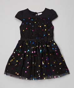 Black Shimmer Ruffle Dress - Infant & Toddler