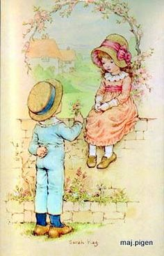 by sarah kay Sarah Key, Old Illustrations, Decoupage Vintage, Holly Hobbie, Precious Moments, Cute Illustration, Vintage Cards, Clipart, Cute Art