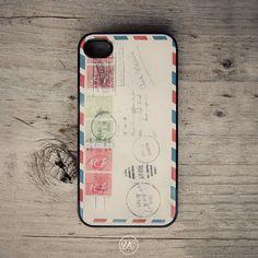 Iphone case Vintage Air Mail by Van Charles - Black Iphone 4 case, iphone 4s case, apple iphone 4, vintage phone case, plastic iphone case. $17.99, via Etsy.