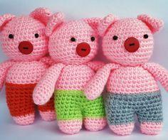 Tre små grisar, virkade. Tre Little Pigs, crochet. Mönster/Pattern…