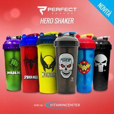 #New entry #VitaminCenter >> PERFECT SHAKER << LORO SONO PRONTI... E TU? Con quale #HERO SHAKER ti allenerai oggi? Scoprili tutti su #VitaminCenter! Hulk, New Product, Water Bottle, Drinks, Drinking, Beverages, Water Flask, Water Bottles, Drink