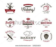 Set of bakery labels, icons, badges and design elements, symbols. Fresh bread, cakes logo templates. 2 Color vintage style. Cupcake emblem. Vector illustration
