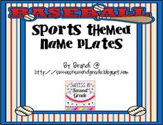 Set of 6 sports themed name plates.  Use these to go with your sports decor for your classroom.  Can be used on students' desks or around the room ...