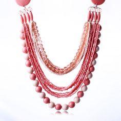 Women Multi Strands Pink Seed Beads Statement Bib Chain Chunky Choker Necklace #Qiyun #choker