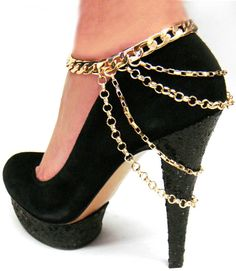 High Heels Anklet Ankle Layered Chain Gold Shoes Women New Hot Fashion Jewelry #DazzeledByJewels