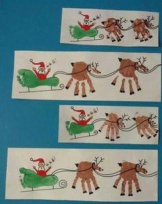 Foot print santa sleigh and handprint reindeer