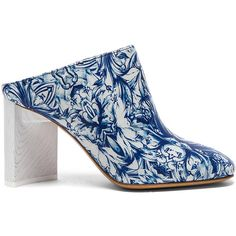 Maison Margiela Printed Leather Mules (€930) ❤ liked on Polyvore featuring shoes, booties, high heel shoes, leather high heel shoes, leather footwear, maison margiela shoes and leather mule shoes