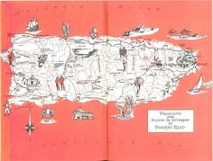Puerto Rico Map // 1960s Vintage Map Illustration // Travel Wall Decor // Puerto Rico Wall Art // Scrapbook Paper // World Travel Map by HildaLea on Etsy