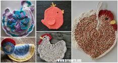 Crochet Chicken Potholder Free Patterns: Easter chicken pot holder, Hen potholder, Easter kitchen table decoration, chicken door hanging/wall hanging