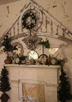 architectural piece above mantel