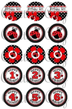 Ladybug Birthday Images for Bottle Caps 4x6 by CreativeCapz, $2.00