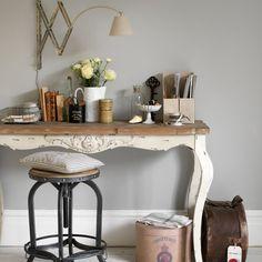 Wohnideen  Arbeitszimmer Home Office Büro - Grau und Creme Vintage-Stil Büro zu Hause