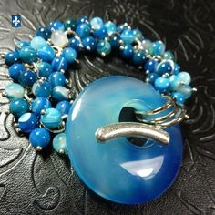 ♥ Superb Striated Blue Agate Plated Silver Bracelet