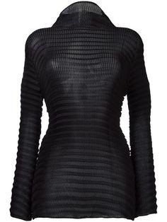 Shop Issey Miyake turtleneck sheer blouse.