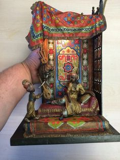 AUSTRIAN COLD PAINTED BRONZE FIGURAL TABLE LAMP CAST FROM A MODEL BY A. CHOTKA #Orientalist #AntonChotka
