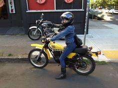 "Nean and all 4'11"" of her badassness rockin' her '78 Yamaha Enduro 100."