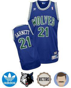 7330b7cad Sport this Men s Adidas Minnesota Timberwolves  21 Kevin Garnett Blue Soul  Swingman Throwback Jersey while
