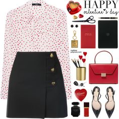 A fashion look from February 2018 featuring Steffen Schraut blouses, Yves Saint Laurent mini skirts and Deimille sandals. Browse and shop related looks.