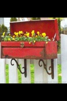 Use an old tool box as a planter box