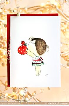 """""""Just for You"""" Little Girl CurlieQ Illustrated Christmas Card - Childhood Memories by Gloriousmess!, $4.50"""