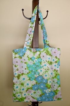 reversible tote bag - retro spring floral - teal yellow blue - sewn from vintage bed sheets on Etsy, $24.00