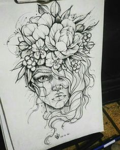 Anki Michler - Tattoos - Tattoo Designs For Women Et Tattoo, Piercing Tattoo, Tattoo Style, Ear Piercing, Face Piercings, Drawing Faces, Cool Drawings, Drawing Sketches, Tattoo Drawings