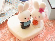 Custom Wedding Cake Topper Handmade lovely cute rabbit by kikuike, $130.00