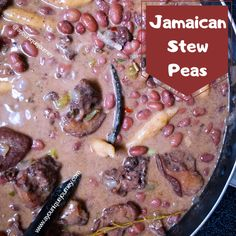Jamaican Stew Peas is a delicious and perfect comfort food, that is made with red kidney beans, coconut milk, herbs & spices and spinners. This stew Jamaican Stew Peas, Jamaican Curry Chicken, Jamaican Dishes, Jamaican Recipes, Jamaican Red Pea Soup Recipe, Guyanese Recipes, Jamaican Cuisine, Chicken Curry, Pea Recipes