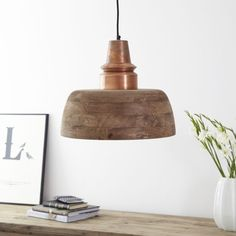 industrial style pendant light in natural wood with copper top