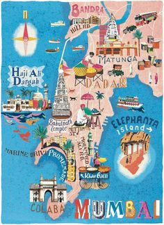 Travel and Trip infographic Mumbai map illustration by Cartographic – Anna Simmons Infographic Description Mumbai map illustration by Cartographic – Anna Simmons – Infographic Source – Travel Maps, New Travel, India Travel, Mumbai Map, Mumbai City, Restaurants In Paris, Poster Design, Map Design, London Travel Guide
