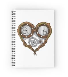 «Chemistry of love: dopamine and serotonin formula (color version)» #Beatrizxe | #redbubble #spiral #notebook. Design based on the chemistry of love. It is represented by a tree trunk with heart form. Inside of it, there are several gears that they have recorded the chemical formula of dopamine and serotonin. #Chemistry #love  #tree #trunk #heart #gear #formula #dopamine #serotonin #Valentines #ink #tattoo #illustration #artwork #drawing #tattoo #design #vintage #steampunk