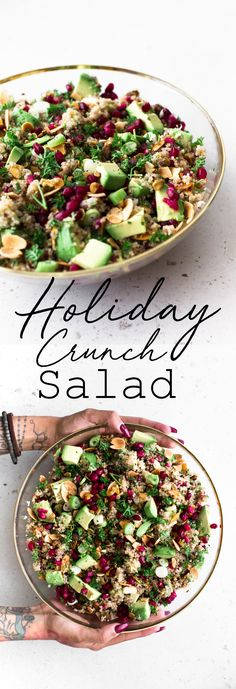 Holiday Crunch Salad A delicious Vegan Quinoa Crunch Salad studded with toasted Almond, Pistachio and Pomegranate. Perfect for a healthy lunch or as a potluck dish! The post Holiday Crunch Salad appeared first on Welcome! Salad Recipes Healthy Lunch, Salad Recipes For Dinner, Chicken Salad Recipes, Easy Salads, Vegetarian Recipes, Cooking Recipes, Salads For Lunch, Cooking Games, Healthy Lunches