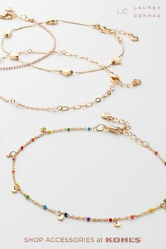 Layer on the style this summer with dainty gold necklaces from LC Lauren Conrad. These pretty picks are perfect to wear on their own or stacked. Go for one with colorful or heart-shaped beads to accessorize any Pride look this June! Shop necklaces and more accessories from LC Lauren Conrad at Kohl's and Kohls.com. #accessories #lclaurenconrad Dainty Gold Necklace, Gold Necklaces, Beaded Necklace, Lauren Conrad Collection, Necklace Ideas, California Style, Summer Accessories, Lc Lauren Conrad, Kohls