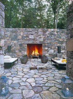 Elle Decor Outdoor Fireplace