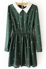 Green Contrast Collar Elastic Waist Polka Dot Dress $31.61