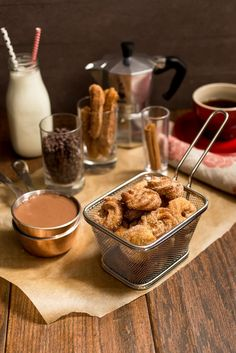Churro Bites with Spicy Chocolate Sauce from The Girl In The Little Red Kitchen