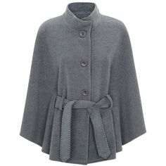 Harrods of London Wool-Cashmere Cape With Belt (600 CAD) ❤ liked on Polyvore featuring outerwear, coats, belted cape, belted cape coat, wool cape coat, woolen cape and cape coat