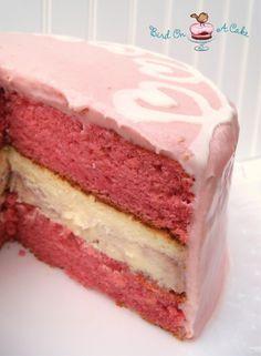 Strawberry Swirl Cheesecake Cake With Strawberry Cream Cheese Frosting