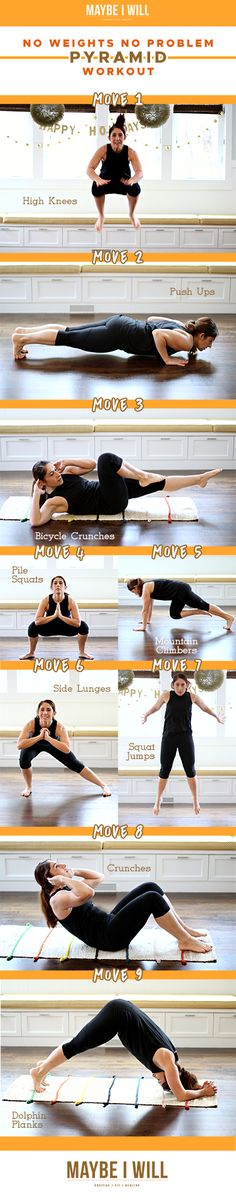 Need to squeeze in a workout and you don't have any weights on hand? This Pyramid Workout will help tone your whole body, and burn some serious calories!