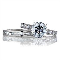Round  Baguette CZ Wedding Ring Set